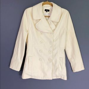 NWOT Cream Wool Pea Coat Size Small